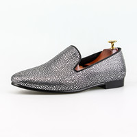 Slip On Dress Shoes Silver Pearl Leather Men Wedding Shoes Classic Fashion Footwear Red Bottom Sole
