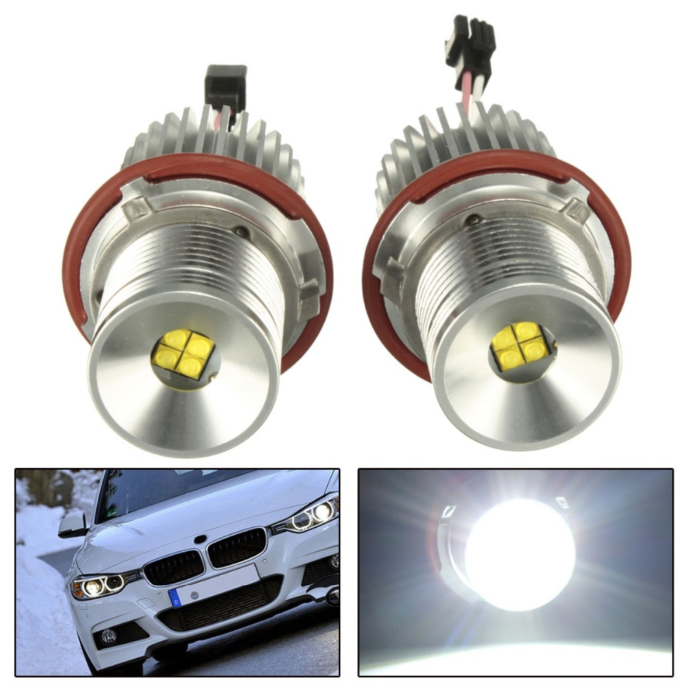 2Pcs 40W High Power LED Chip LED Marker Angel Eyes Halo Ring Light Lamp Bulbs  Error Free White For BMW E87 E39 E60 Headlight