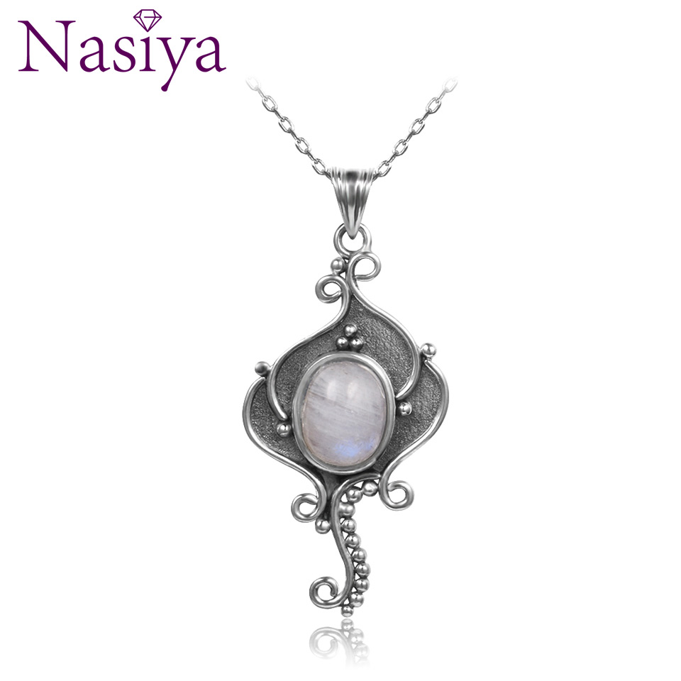 Nasiya Natural Rainbow Moonstone Casual Necklace Pendant With 8x10MM Stone Women's 925 Silver Jewelry Vintage Pendants Wholesale