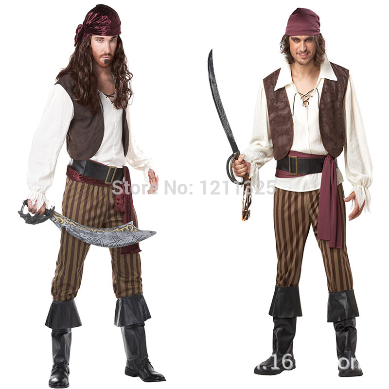 Rogue Pirate Costume Halloween Men Pirates Of The Caribbean Pirate Clothing Fat People Dress Uniforms