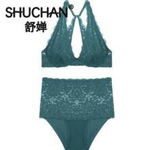 SHUCHAN Underwear Set Bra Lace Sexy Sets Women Female Bottom Push-up Three Quarters(3/4 Cup) Solid Br1276