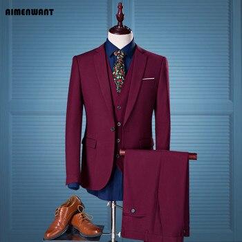 013b9a2d8c AIMENWANT marca trajes de hombre vino rojo slim fit novio boda trajes  vestido formal M-4XL más tamaño blazer + vest + pantalones set