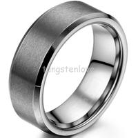 Clearance Item Fashion 8mm Brushed Matte Finish Comfort Fit Tungsten Carbide Ring Mens Unisex Wedding Band