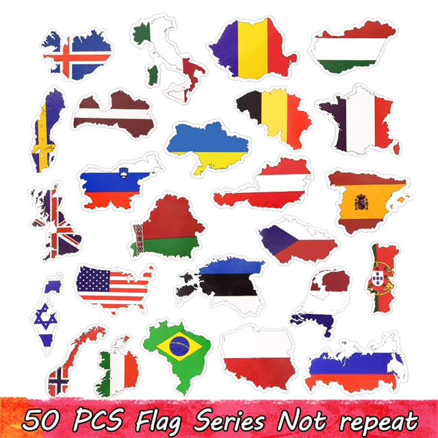 50 Countries National Flag Sticker Toys for Children Soccer Football Fans Decal Sticker Scrapbooking Travel case Laptop Stickers