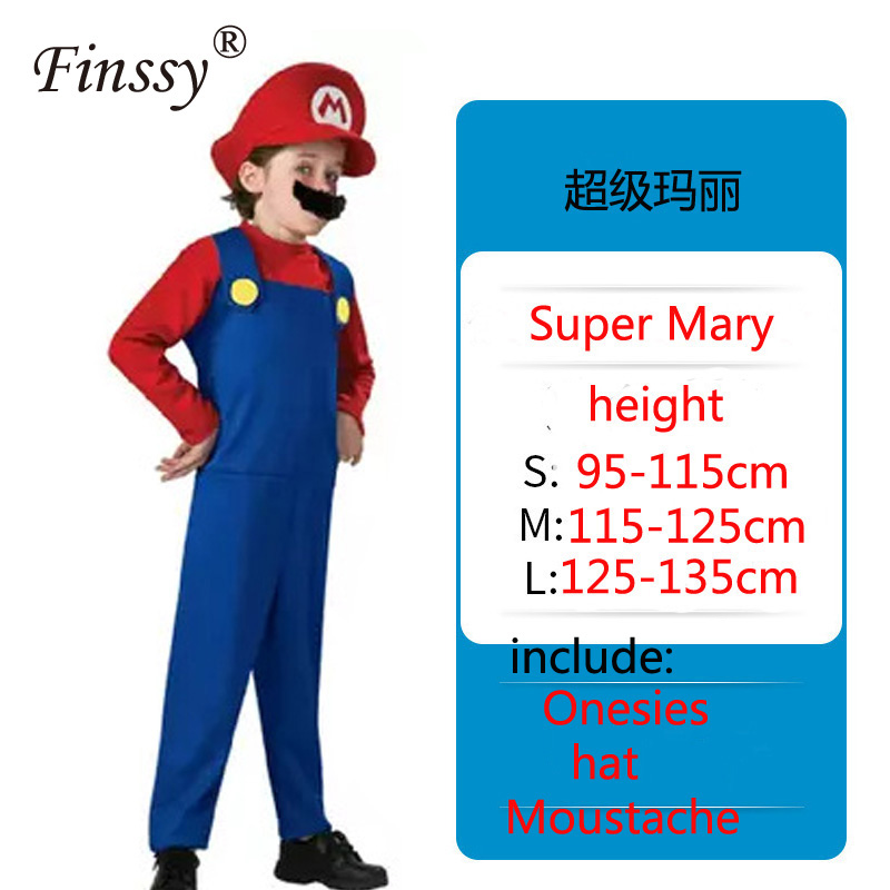 Super Mary Cosplay Costume Shopping Mall Promotion Costume Props Halloween Carnival Party Red Green Dance Dress