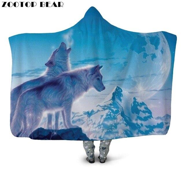 3D Wolf Hooded Blanket 1