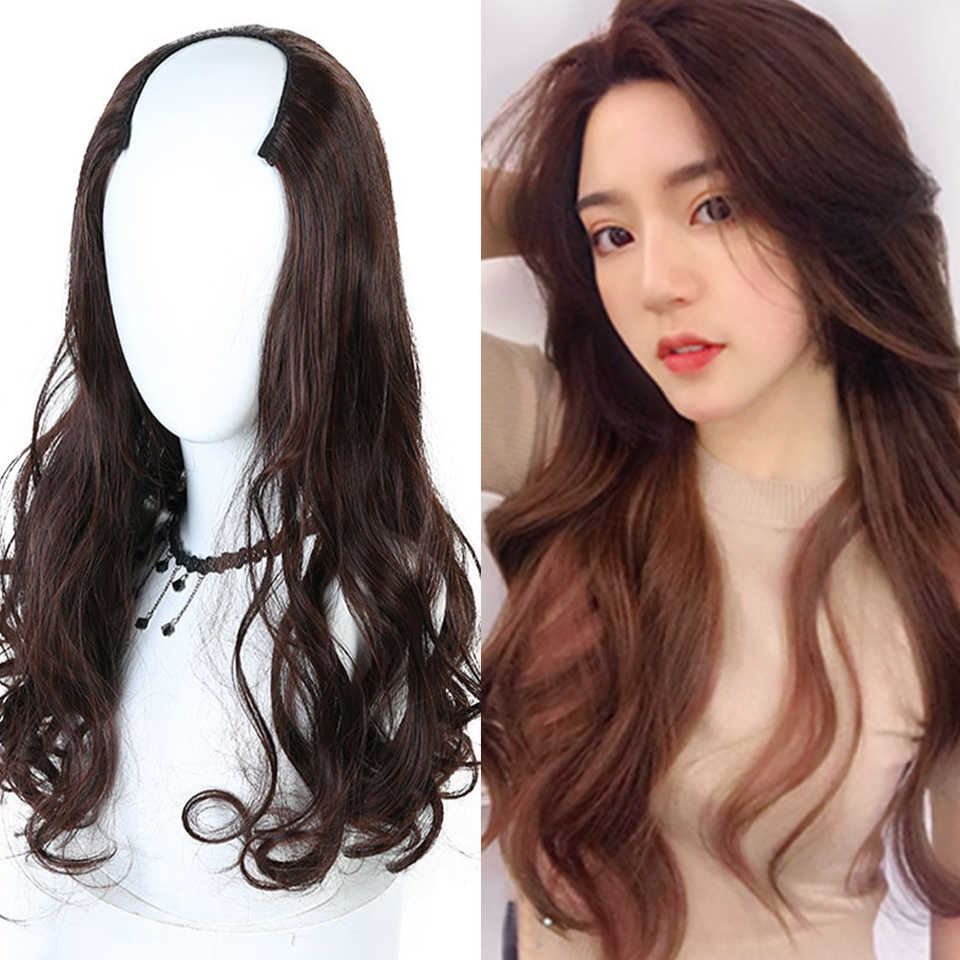 Bybrana Shaped Half Wig Long Wavy Curly Synthetic Hair Wigs High  Temperature Fiber 3 Colors Fashion 83c2e0b4a0