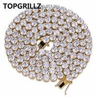 TOPGRILLZ Hip Hop Tutti Ghiacciato Fuori La Collana di 1 Fila Micro Pavimenta Pietre DELLA CZ Tennis Collane A Catena Per Gli Uomini e Le Donne 20