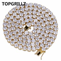 TOPGRILLZ Hip Hop All Iced Out Necklace 1 Row Micro Pave CZ Stones Tennis Chain Necklaces