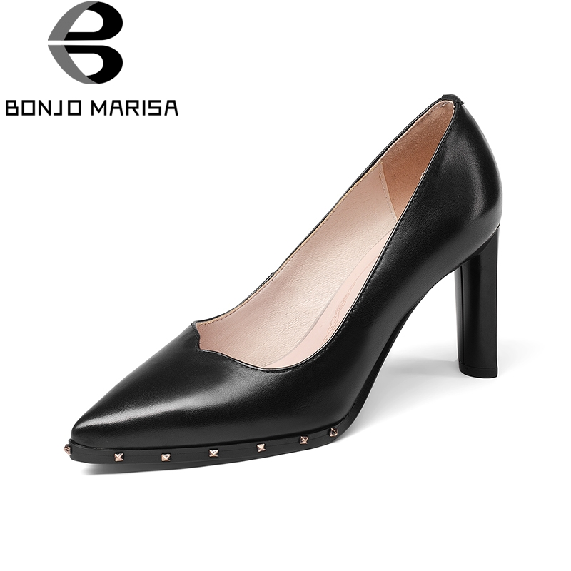 BONJOMARISA 2018 Genuine Leather Large Size 32-42 Chunky High Heels Women Shoes Woman Pointed Toe Slip On Pumps Shoes Woman 2016 genuine leather women pumps shoes high heels tassel slip on cowhide chunky heels vintage style