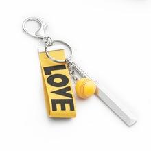 Cricket Keychain Bag Car Key Chain Mini Three piece Cricket Bat Ball Pendant Keyring Mix 30pcs/lot wholesale-in Key Chains from Jewelry & Accessories on AliExpress