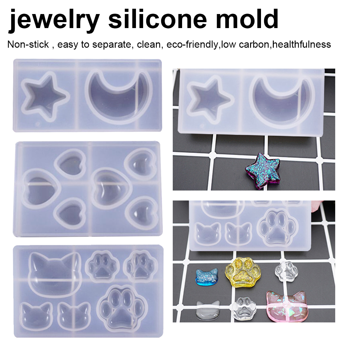 Cat Bear Paw Heart Moon Star Silicone Mold Resin Silicone Mould Handmade DIY Jewelry Making Epoxy Resin Molds