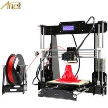 Бесплатная 1 рулона нити + anet a8 персональный 3d-принтер комплект diy точность reprap prusa i3 + алюминиевый очаг + 8 ГБ карта + жк-экран