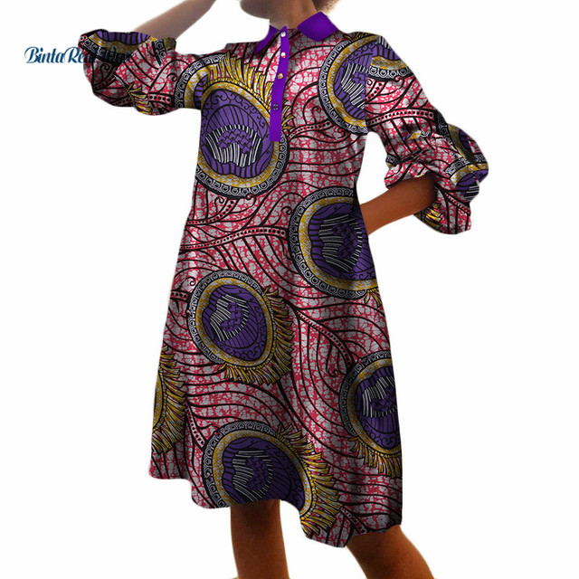 0ab842526bae Casual African Print Dresses for Women Loose Straight Shirt Dresses  Turn-down Collar Long Shirt Bazin African Clothing WY3355