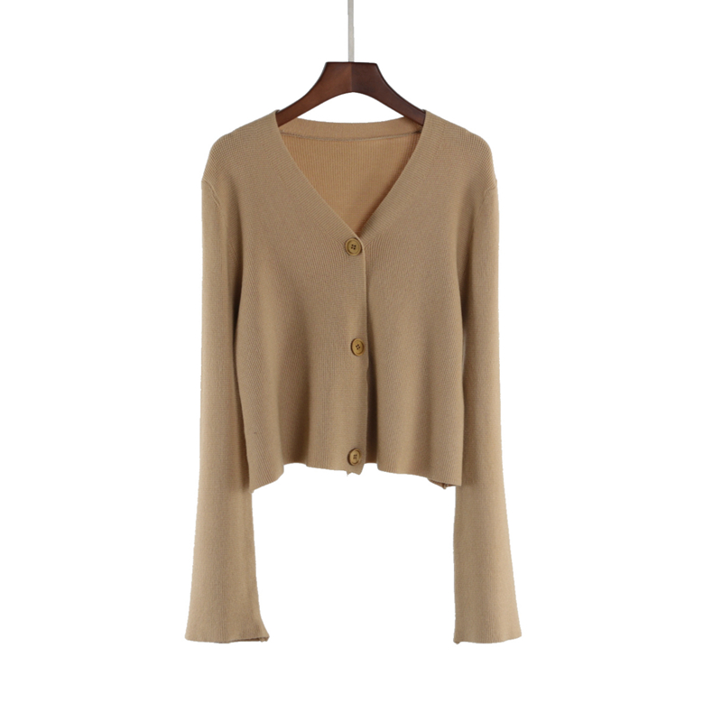 2b2559188ad Flare Sleeve Knitted Cardigan Women 2019 Spring Autumn Short Style V Neck Knitwear  Bell Sleeve Sweater Solid Crop Tops Cardigan