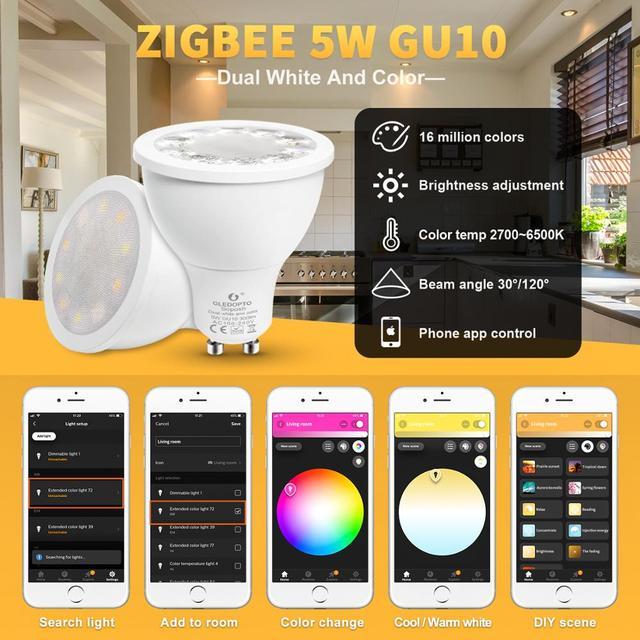 GLEDOPTO smart home rgb and warm white  gu10 spotlight zigbee 5W RGBW GU10 bulb AC100-240V work with Amazon Echo plus smartThing 1