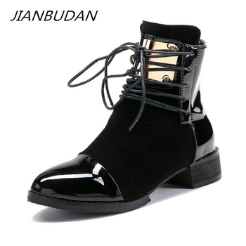JIANBUDAN Brand fashion PU leather women's motorcycle boots Autumn Lace-Up Ankle Female winter snow 35-43 - discount item  50% OFF Women's Shoes