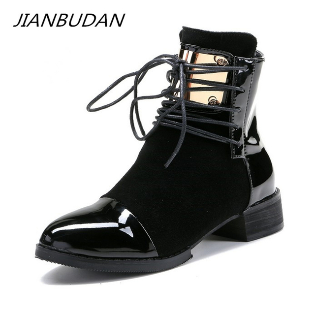 Jianbudan Brand Fashion Pu Lederen Vrouwen Motorlaarzen Herfst Leather Lace Up Enkel Laarzen Vrouwelijke Winter Snowboots 35 43