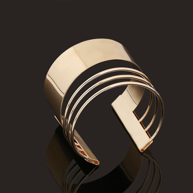 DIEZI Bijoux Gypsy Fashion Gold Silver Plated Punk Hip Hop Cuff Wide Men Bangles Arm Bracelet for Women Bracelets & Bangles