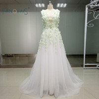 Real Design Fanovias Sleeveless Light Green Evening Dresses For Party Long Gown Banquet Toast Lady S