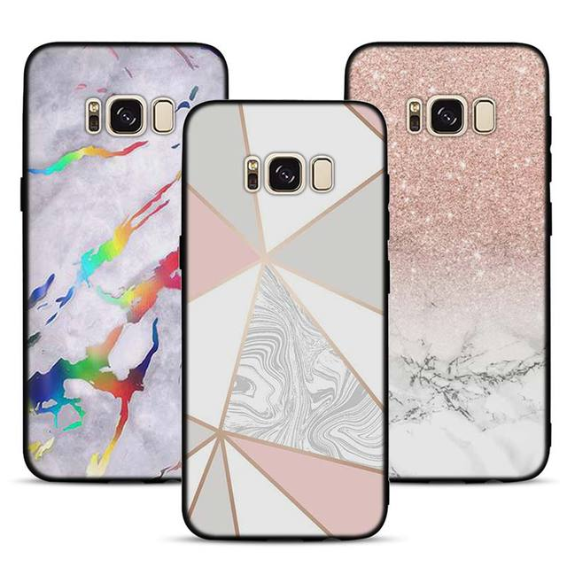 new concept 7b5b9 940b1 US $2.49 |Luxury marble rose gold marble Pattern Soft Silicone Black  Cellphone Cases for Samsung S7 S7edge S8 S8Plus S9 SPlus Note 8-in Fitted  Cases ...