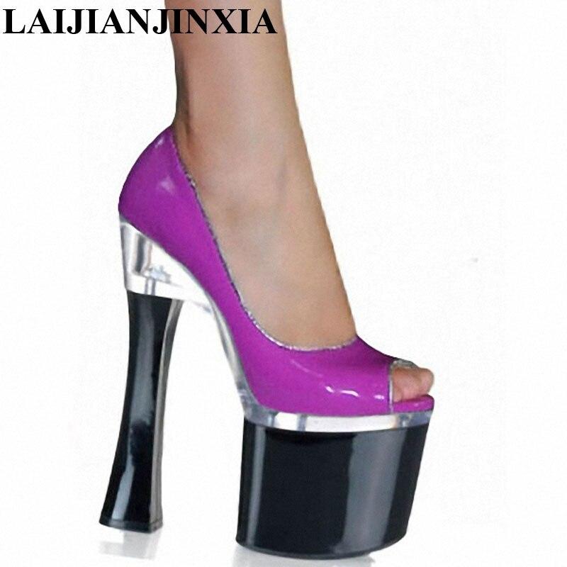 LAIJIANJINXIA New Sexy Open Toe Pumps Sexy Temptation 18cm High Heeled Shoes Performance Shoes 7 Inch Platform Heels