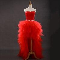 赤い恋人フリルブリンブリンスパンコール羽オーガンザ短いフロント長いバックウエディングドレスエメラルドグリーンカクテルドレス2016