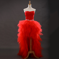 Red Sweetheart Ruffled Bling Sequins Feather Organza Short Front Long Back Prom Dresses emerald green cocktail dresses 2018