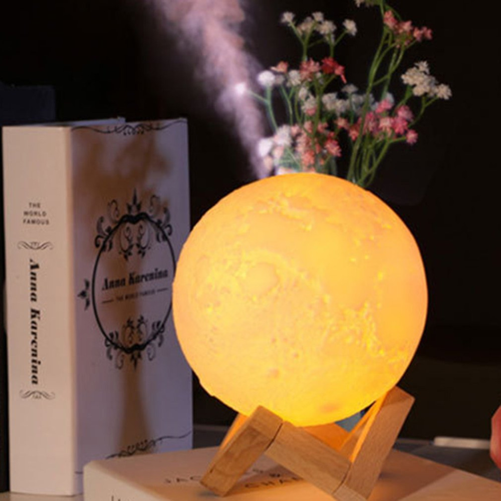 New 880ML USB Air Humidifier Rechargeable 3D Moon L