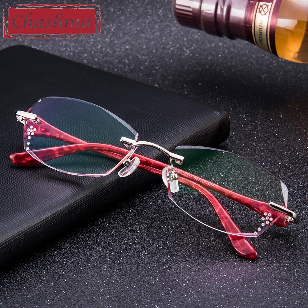 Chashma Titanium Fashion Female Eye Glasses Diamond Trimmed Rimless Spectacle Frames Women Eyeglass Frame Colored Lenses