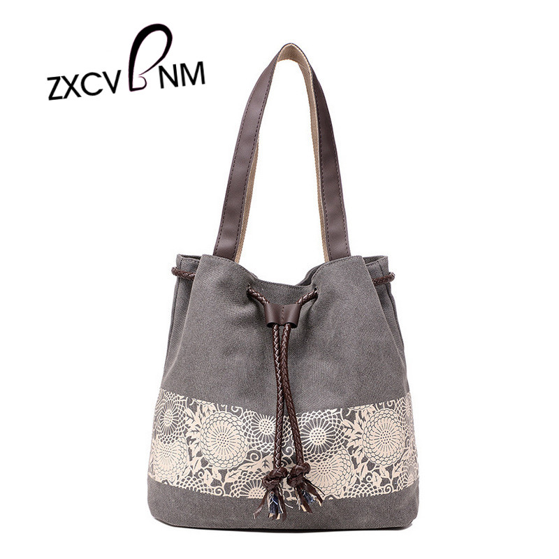 ZXCVBNM 2017 New Women Large Capacity Handbag Lady National Canvas Handbags Fema