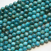 Meihan Free shipping (2 strands/set) natural Cost-effective 8mm blue apatite smooth round loose beads for jewelry making
