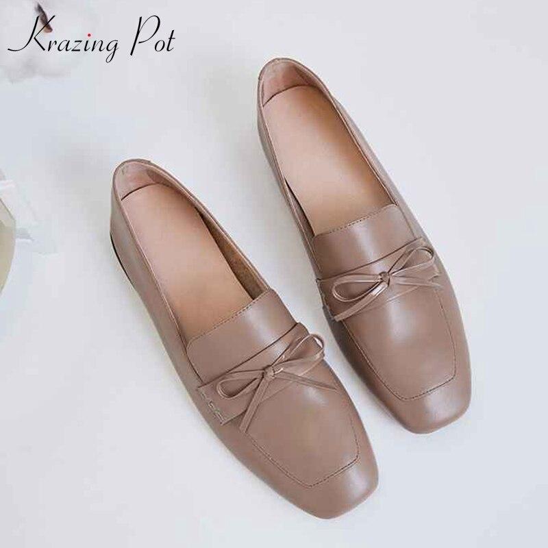 Krazing pot/женская брендовая обувь из кожи с натуральным лицевым покрытием на плоской подошве с квадратным носком; Элегантная модная мягкая обувь без застежки с бантом бабочкой; L92|Обувь без каблука|   | АлиЭкспресс