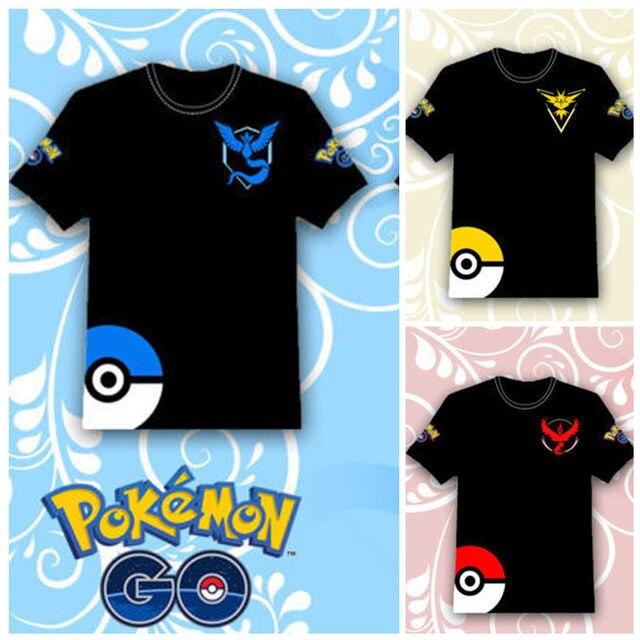 3d565f1b Mobile Games Pokemon Pokemon GO Zapdos Moltres Articuno men and women T- shirt cotton anime cosplay Pikachu camp LOGO 3 colors
