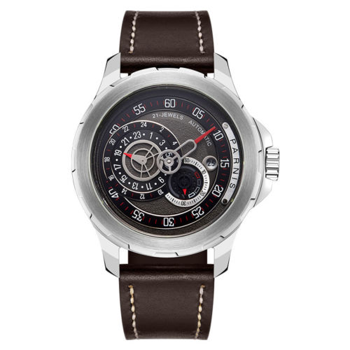 44mm parnis 블랙 다이얼 스테인레스 스틸 케이스 고급 브랜드 사파이어 date21 보석 miyota 자동식 무브먼트 남자 시계-에서기계식 시계부터 시계 의  그룹 1