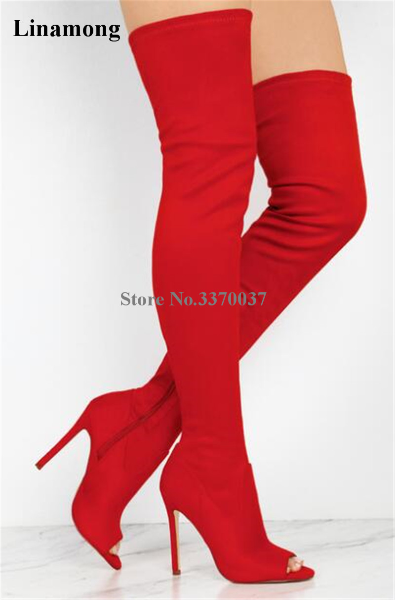 New Fashion Women Open Toe Red Black Suede Leather Over Knee Gladiator Boots Cut-out Thigh High Bandage High Heel Boots black stretch fabric suede over the knee open toe knit boots cut out heel thigh high boots in beige knit elastic sock long boots
