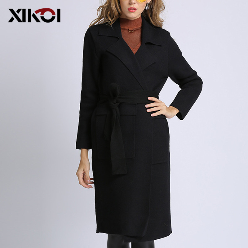 XIKOI Women Elegant Winter Warm Open Stitch Knitted   Trench   Ladies Black Khaki Luxury Loose Long Sweater   Trench   coats With Sash