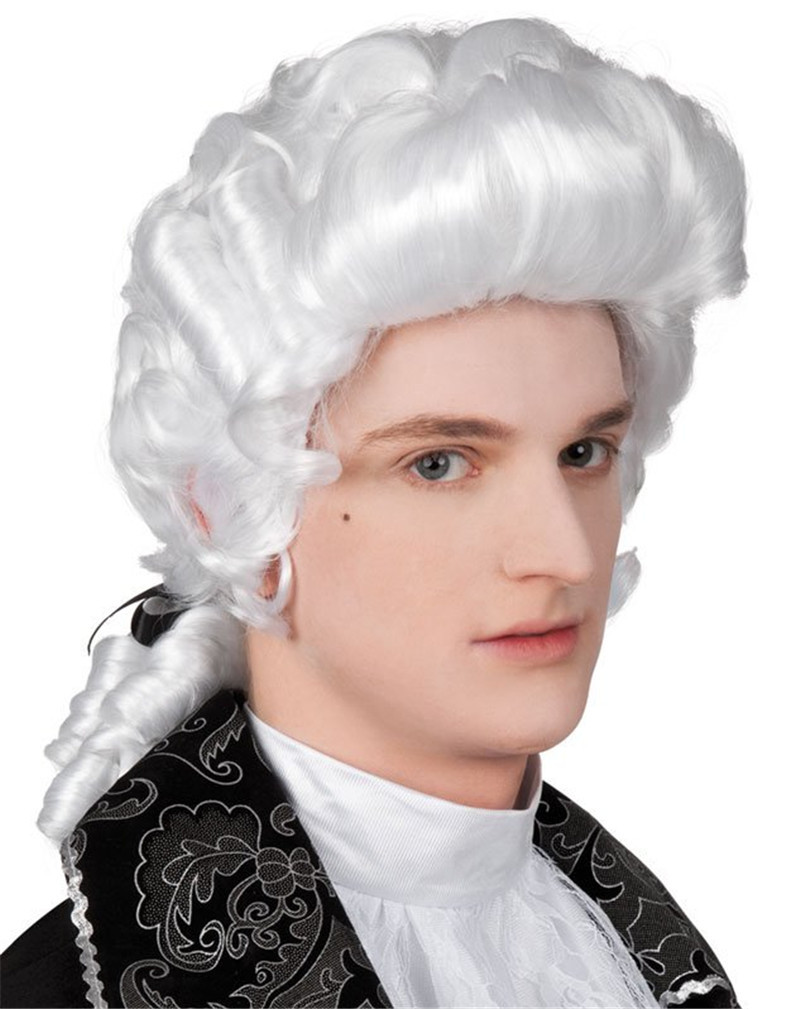 Fancy White Long Curly Cosplay Wigs Baroque Man Wigs High Quality Synthetic Fiber Wigs 2014 Popular Products Online 003 halloween festival party cosplay wigs man pirates of the caribbean wigs brown long braid cosplay wigs hot sale online 017