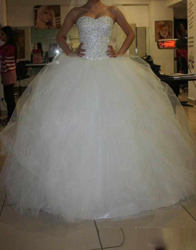 Sweetheart Ivory / White Satin Tulle Beading Crystal Strapless Ball Gown Shiny Biling Crystals Wedding Dresses Bridal Gown