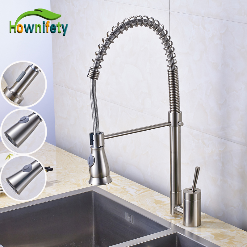 цена на Solid Brass Nickel Brushed Swivel Spout Kitchen Sink Faucet Single Handle/Hole Mixer Tap