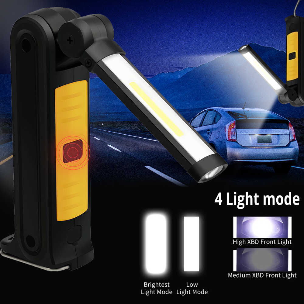 Светодиодный рабочий светильник 800 люмен COB USB Перезаряжаемый Магнитный фонарь, гибкая контрольная лампа, беспроводной Рабочий светильник, аварийная лампа