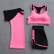 2017 Summer Women Set Skirt And Blouse Garment 3 Suit Short Sleeve T Shirt+Bra+Fitness Quick Drying False Two Shorts Tracksuit
