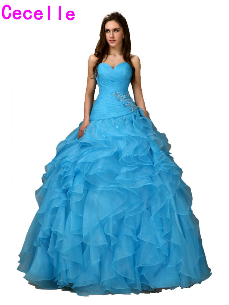 Girls Ball Gowm Princess Prom Dresses Blue Sweetheart Pleated ...