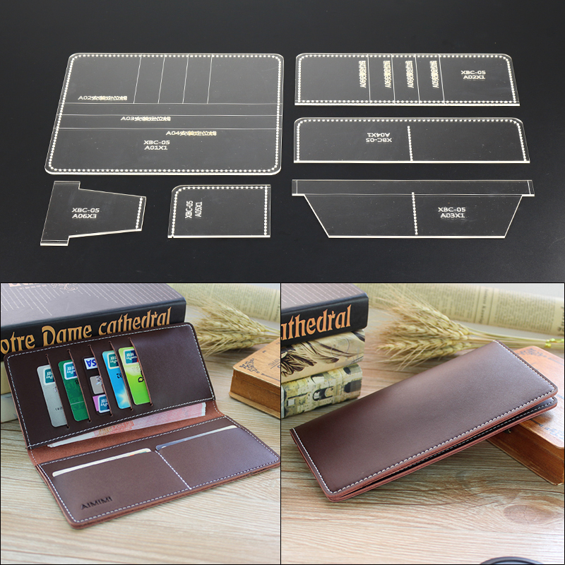 1set Acrylic Leather Template Handwork Leathercraft Home Sewing Pattern Tools Accessory Long Wallet 9*10*1cm