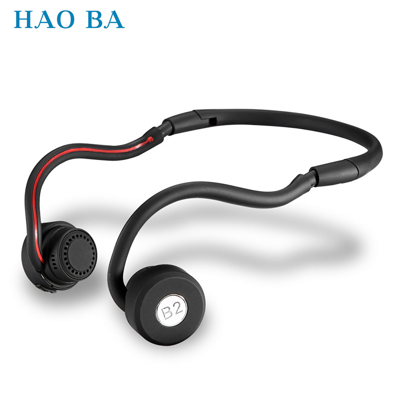 B2 Foldable Bone Conduction Headsets Bluetooth 4.0 Wireless Stereo Sports Earphone Headphone with Microphone For iphone Samsung august epa20 bluetooth cap winter beanie hat with stereo speaker and microphone wireless headphone earphone for outdoor sports