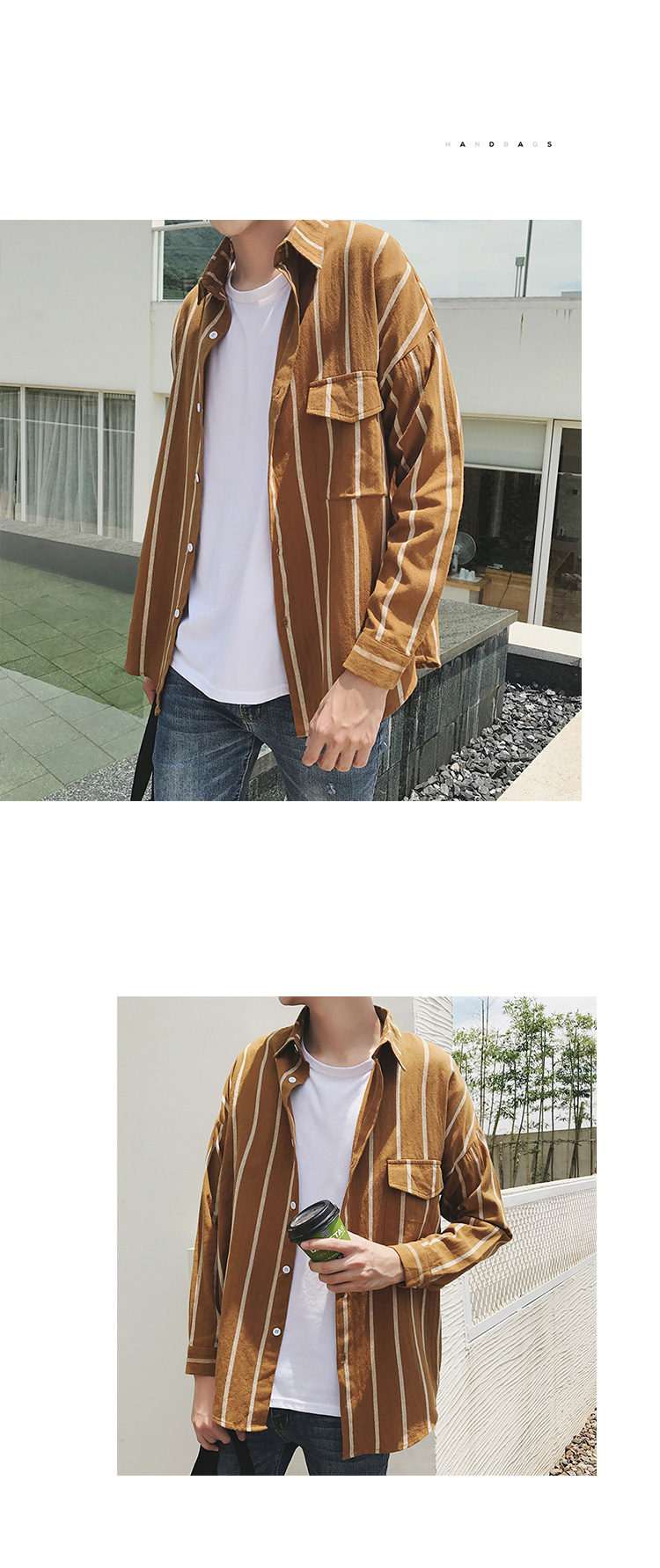 2018 INS Men Striped Shirts Longe Sleeve Autumn Cotton Casual Shirts ... e311c4b608a3b