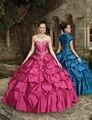 Vestido de Baile vestido de Debutante Quinceanera Vestidos 2017 Real Querida Tafetá Pescoço Para A Menina Vestido de Festa