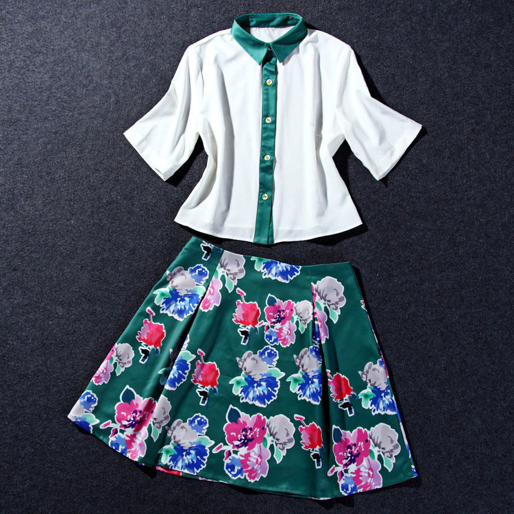 Flower Print Green Skirt White Blouse Suits for Women (4)