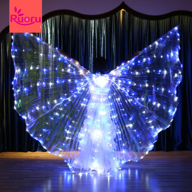 Ruoru Flickering Star Series Blue white Color Belly Dance Led Isis Wings Belly Dance Led Wings