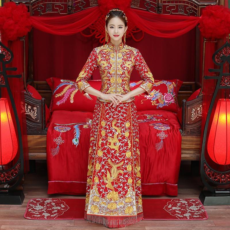De lujo antiguo rojo real Boda China tradicional vestido de novia bordado Cheongsam las mujeres Oriental Dragon Phoenix QiPao fiesta